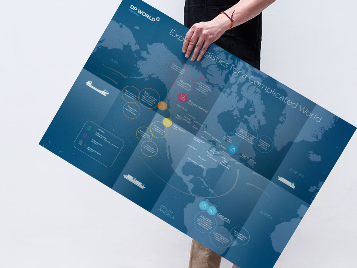 Dp world marine terminals and maritime services red rocket the brochure was a stand out piece of collateral featuring a map of north america and how dp worlds locations provided efficient access to markets across gumiabroncs Choice Image